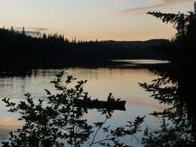 Partie de pêche au coucher du soleil